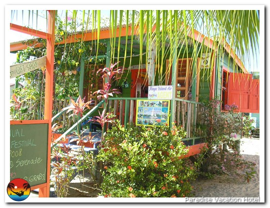 Maya Island Air office on main street in Placencia, Belize by Alan Stamm